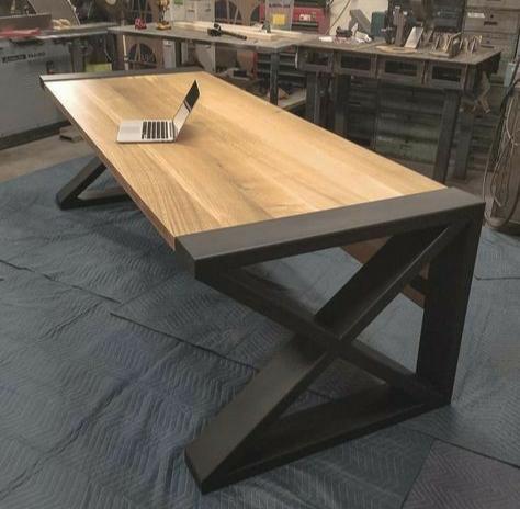 Furniture Industrial Meja Kerja Besi Dan Kayu Jati