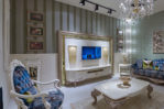 Meja Tv Mewah Dengan Frame Dinding Ukiran