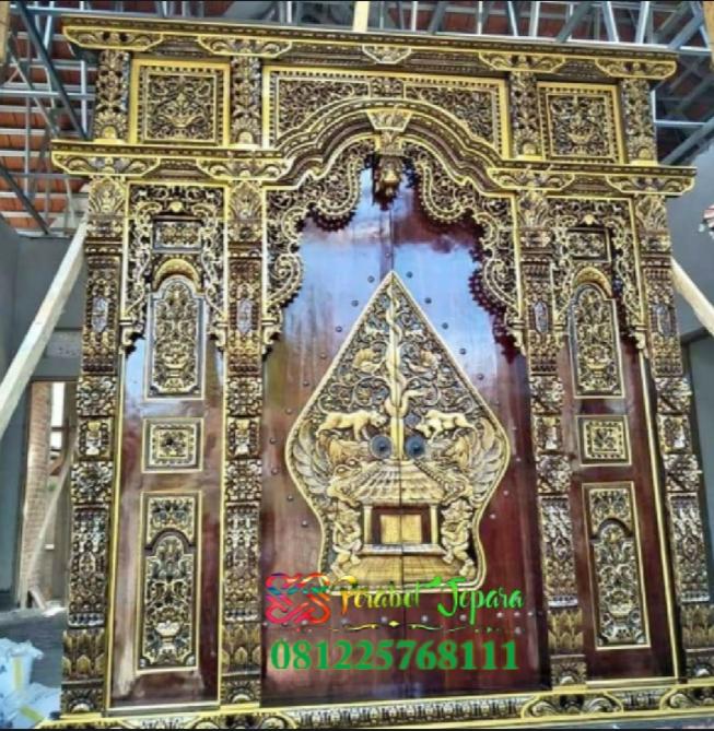 Pintu Gebyok Jati Ukir Jepara Finishing Emas