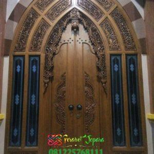 Pintu Masjid Mewah Kayu Jati Ukir Jepara