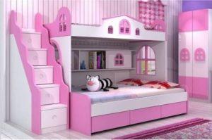 Tempat Tidur Anak Tingkat Terbaru Pink Putih