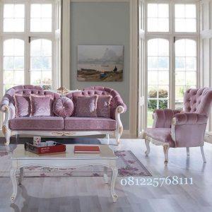 Sofa Tamu Warna Pink Mewah Set 2 1 Meja