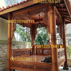 Gazebo Jati Ukir Jepara Model Terbaru Atap Plafon Kayu