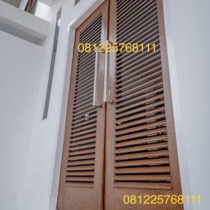 Pintu Minimalis Jalusi 2 Daun Kayu Jati