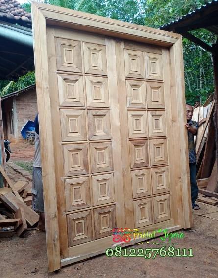 Pintu Jati Minimalis Kotak Kotak Model Terbaru