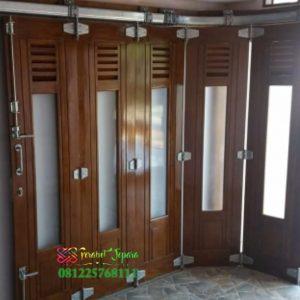 Pintu Garasi Jati Minimalis Model Sliding Rel Wina