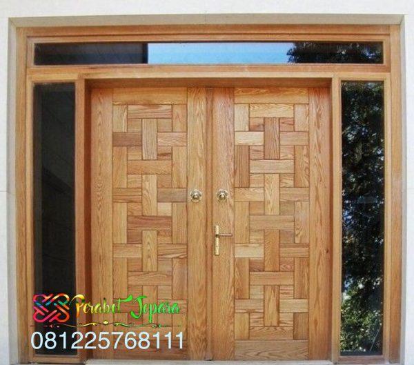 Pintu Minimalis Kepang Kayu Jati Jepara