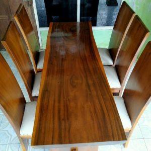 Set Meja Makan Trembesi Solid Serat kayu jati grade A